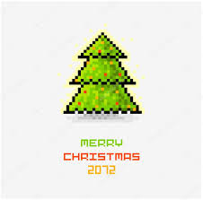 vector christmas pixel art card with christmas tree u2014 stock vector