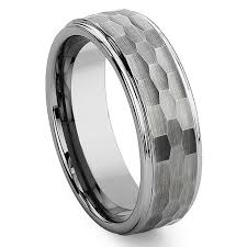 Mens Gunmetal Wedding Rings by Tungsten Carbide Hammer Finish Wedding Band Ring