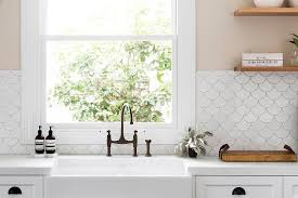 Artisan Sinks And Faucets Kitchen With Fish Scale Tile Backsplash Transitional Kitchen