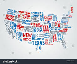 Montana Usa Map by Usa Word Cloud Map Stock Vector 104082038 Shutterstock