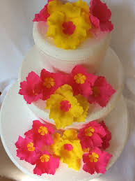 Tropical Themed Wedding Cakes - luau flower cake topper 15pcs hawaiian wedding cake topper
