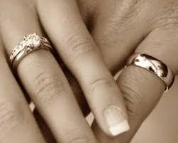 wedding rings on wedding rings on treading grainwedding rings on