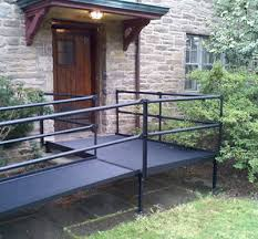 Wheelchair Ramp Handrails Steel Modular Wheelchair Ramp By National Ramp Ada Compliant