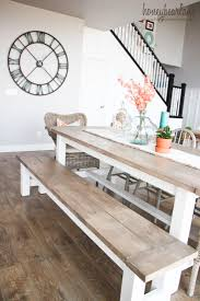 diy farmhouse table and bench white banister farmhouse table