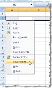 use the keyboard to change row height and column width in excel 2007