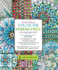 portable color me stress free coloring kit includes book colored