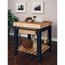 powell color story antique black butcher block kitchen island