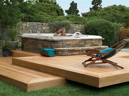 Cheap Backyard Deck Ideas by Outdoor Backyard Deck Designs With Hot Tub Ideas Double Deck In