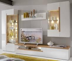 Schrankwand Wohnzimmer Modern Wohnwand Weiß Eiche Cool Wohnwand Monty 351x207x47 Cm Eiche