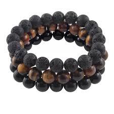 mens black beaded bracelet images Men 39 s 39 wanderlust 39 black and brown beaded bracelet set of 3 forziani jpg