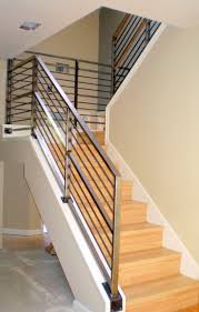 stair railings and banisters incridible chrome metal railing banister with oak steps as modern