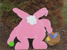 Easter Wooden Yard Decorations by Happy Easter Waving Bunny Outdoor Wood Sign Yard Art Lawn
