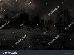 halloween post apocalyptic background background destroyed city after disaster stock illustration