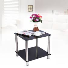 Table Basse Verre Trempé Noir Cuisine Naturelle Table Basse Style Contemporain Café Table En Acier Noir Maison