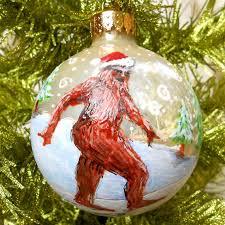 sasquatch christmas ornament hand painted bigfoot snow weird