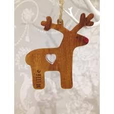 Personalised Reindeer Christmas Tree Decorations by Painted Wooden Reindeer Christmas Tree Decoration