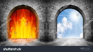 heaven hell halloween party two gates heaven hell choice concept stock photo 145324306