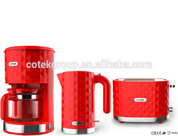 Red 2 Slice Toaster Kitchen Appliance Diamond Design Drip Coffee Maker Electric