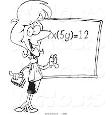 vector of a cartoon female math teacher during class outlined