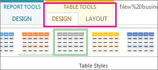 table tools design tab create a project report project