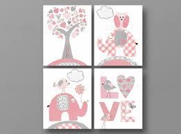 deco chambre bebe fille gris lot de 4 illustrations pour chambre d enfant et bebe gris
