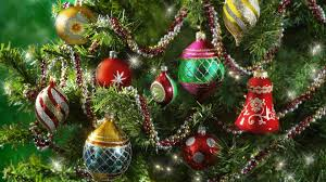 colorful baubles in the sparkly tree wallpaper
