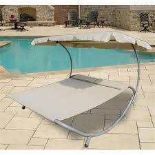 outsunny double wide patio pool hammock bed lounger w sun shade
