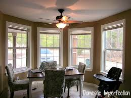 DIY Bay Window Curtain Rod  Back Tab Curtains Domestic Imperfection - Dining room with bay window