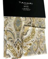 Pier One Paisley Curtains by Tahari Yellow Gray Taupe Cream Medallion 2pc Window Curtain Panels