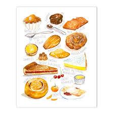 affiche deco cuisine gâteaux français no 2 décor cuisine illustration aquarelle