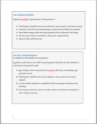yoga studio business plan sample pages black box business plans