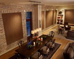 cool image of dining room decoration using light brown curtain
