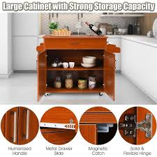 kitchen storage cabinet cart costway rolling kitchen island cart storage cabinet w towel