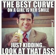 The Best Funny Memes - the best curve in a girl is her smile just
