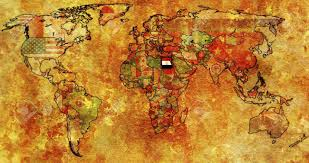 Image Of Flag Of Egypt Old Political Map Of World With Flag Of Egypt Stock Photo Picture