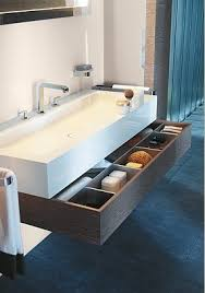 drawer under floating trough sink wink chic bathroom