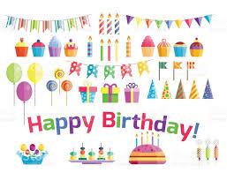 birthday party icons celebration happy birthday surprise