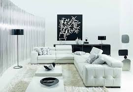 White Living Room Chair Funiture Modern Living Room Furniture With U Shaped Black Leather