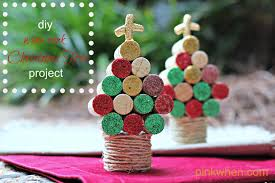 wine cork christma tree craft pinkwhen tree decorations