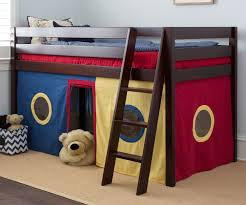 Playhouse Curtains Jackpot Straight Low Loft Bed With Curtains Cherry Jackpot Kids