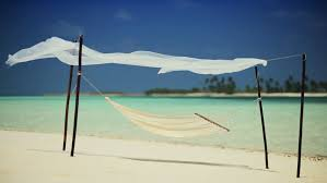hammock swaying lazily on a remote beach inviting relaxation stock