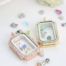 necklace charms images Wholesale big fashion rose gold filled photos floating locket jpg