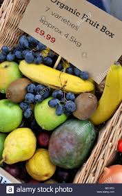 organic fruit delivery organic fruit box for home delivery service stock photo 25859105