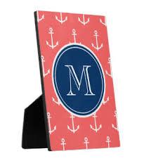 Monogram Plaques Blue Anchor Photo Plaques Zazzle