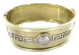 fine jewelry gold bracelet images Gold 14kt yellow white bangle greek key medusa bag 585 fine jpg