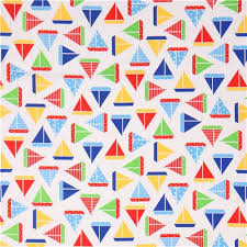 white robert kaufman fabric colorful sailboat sea and sun