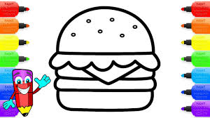 cheeseburger with cheese herbs and tomato coloring pages