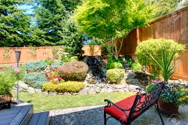 beautiful landscape design for backyard garden with small bench