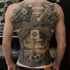 vintage motorcycle racing back tattoos