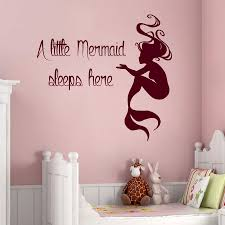 mermaid wall decals quote little sleeps here vinyl zoom